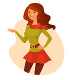 Cartoon girl in quirky spring outfit Stock Photos