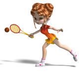 Cartoon girl with racket plays tennis. 3D rendering with clipping path and shadow over white Royalty Free Stock Photo