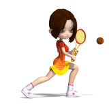 Cartoon girl with racket plays tennis. 3D Stock Photo