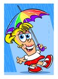 Cartoon girl in rain Royalty Free Stock Image