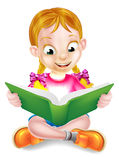 Cartoon Girl Reading Amazing Book Stock Photography