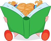 A cartoon girl reading a book. Vector illustration. Royalty Free Stock Image