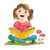 Cartoon girl reading book Royalty Free Stock Photography