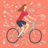 Cartoon girl riding a bicycle. Including doodle decorative elements such as food, sport equipment and health symbols. Healthy lifestyle illustration for your Royalty Free Stock Photo