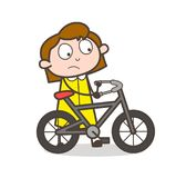Cartoon Girl Riding Bicycle Vector Illustration Stock Images