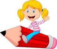 Cartoon girl riding flying pencil Royalty Free Stock Photo