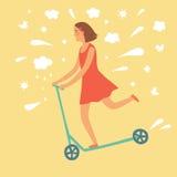 Cartoon girl riding kick scooter Royalty Free Stock Image