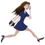 Cartoon girl running hurriedly with a bag and phone in hand.  Royalty Free Stock Image