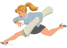 Cartoon girl running with paper in her hand Royalty Free Stock Images