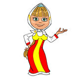 Cartoon girl in Russian national dress. And headscarf Royalty Free Stock Photography