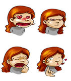 Cartoon girl's moods. Four funny cartoon girl's expressions Stock Photo