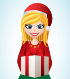 Cartoon girl with Santa hat and gift Royalty Free Stock Photo