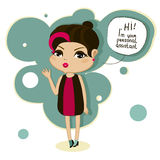 Cartoon girl says hello. Cute cartoon girl says, hi, I am your personal assistant Royalty Free Stock Images
