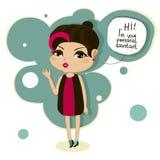 Cartoon girl says hello Royalty Free Stock Images