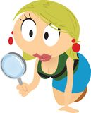 Cartoon Girl Searching Royalty Free Stock Photography