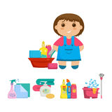 Cartoon girl with a set of objects for cleaning the house. Stock Photos