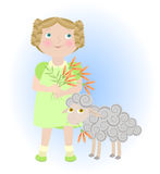 Cartoon girl with sheep illustrating aries zodiac  Stock Image