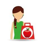 Cartoon girl shopping apple fruit icon Stock Photo