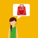Cartoon girl shopping apple fruit icon Stock Photography
