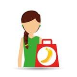 Cartoon girl shopping banana fruit icon Stock Photography