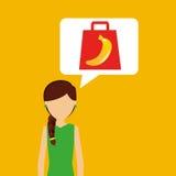 Cartoon girl shopping banana fruit icon Royalty Free Stock Photos