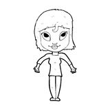 Cartoon girl shrugging shoulders. Black and White Line cartoon in retro style.  Vector available Stock Photo