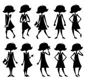 Cartoon girl silhouettes set. Royalty Free Stock Image