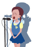 Cartoon girl singing into microphone Royalty Free Stock Photography