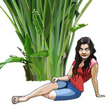 Cartoon girl sits under a green tropical plant Stock Photography