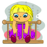Cartoon girl sitting in bed icon Royalty Free Stock Photo
