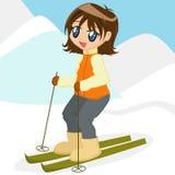 Cartoon Girl Skiing. Cute brunette cartoon girl skiiing Stock Photography