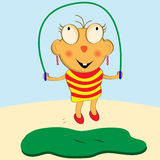 Cartoon Girl Skipping. Cartoon girl having fun with her skipping rope vector illustration