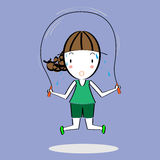 Cartoon girl skipping rope Royalty Free Stock Photography