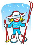 Cartoon girl with skis. On a blue winter background Royalty Free Stock Image