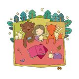 Cartoon girl sleeping in bed. Baby and toys. animals of the forest. Children s tale. Time to sleep. Good night royalty free stock photography