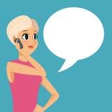 Cartoon girl smartphone talk bubble speech Stock Photo