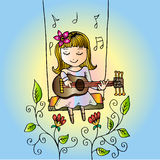 Cartoon girl smiling on swing, with guitar. Stock Image