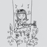 Cartoon girl smiling on swing, with guitar. Stock Photos