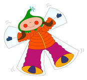 Cartoon girl and snow angel. Vector image of cartoon girl making a snow angel Royalty Free Stock Photography