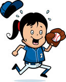 Cartoon Girl Softball Stock Images