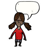 Cartoon girl with speech bubble Royalty Free Stock Photos