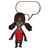 Cartoon girl with speech bubble. Retro cartoon with texture. Isolated on White Royalty Free Stock Photos