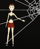Cartoon girl with spiderweb Stock Photo