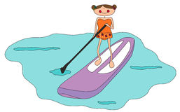 Cartoon girl stand up paddle boarding. Vector image of cartoon girl stand up paddle boarding Royalty Free Stock Photo