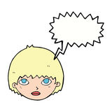 Cartoon girl staring with speech bubble Royalty Free Stock Images