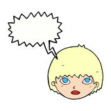 Cartoon girl staring with speech bubble Stock Photography