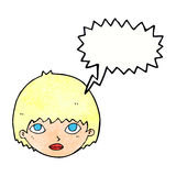 Cartoon girl staring with speech bubble Royalty Free Stock Image