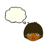 Cartoon girl staring with thought bubble Royalty Free Stock Images