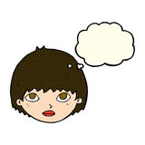 Cartoon girl staring with thought bubble Royalty Free Stock Photos