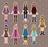Cartoon girl stickers Royalty Free Stock Image